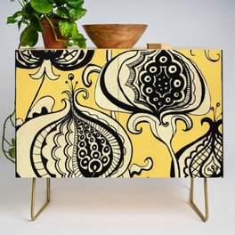 Black and Yellow Floral Credenza