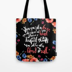 Blood and Salt by Kim Liggett book quote design Tote Bag