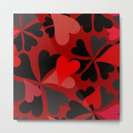 red black and pink hearts on red Metal Print