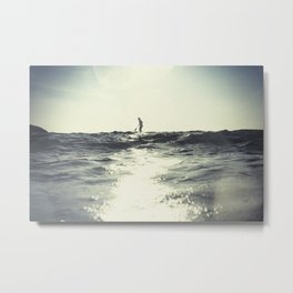 SUP board surfer at Sunset vintage Film simulation Metal Print