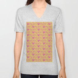 Pink yellow hand painted watercolor I love mum typography Unisex V-Neck