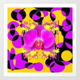 Artful Modern Purple & Gold Black Orchid Design Art Print