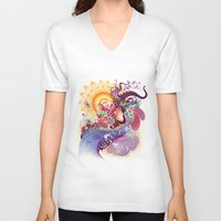 koi V-neck T-shirts featuring Koi by Nick La