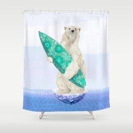 Polar bear & Surf (green) Shower Curtain