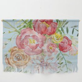 Bouquet of Watercolor on Blue Background Wall Hanging