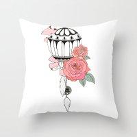 hot air balloon Throw Pillows featuring Hot Air Balloon Ride  by holmeg_art