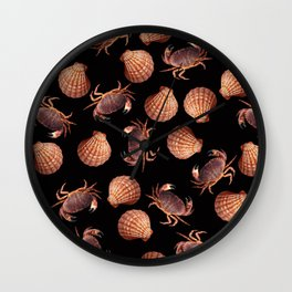 Scallop Crab pattern design black Wall Clock