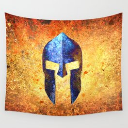 Blue Spartan Helmet On Rust Background - Molon Labe Wall Tapestry
