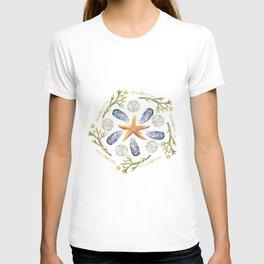 Tide Pool Beach Mandala 3 - Watercolor T-shirt