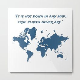 Travel Map with a Quote Metal Print