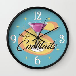 Time for Cocktails Wall Clock