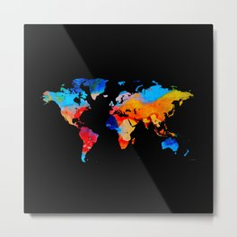 World Map 18 Black Background Metal Print