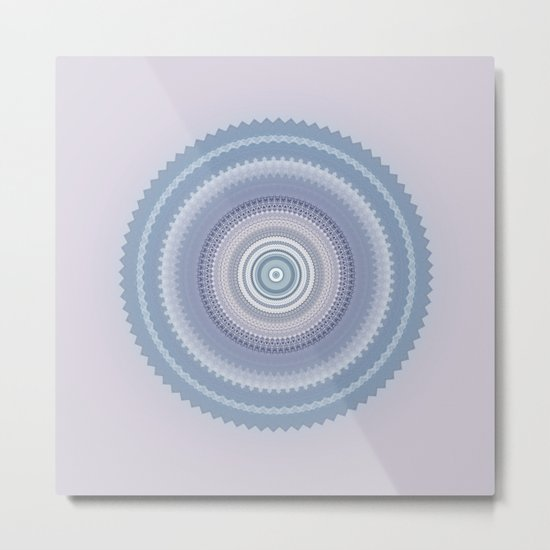 Inspirational Mandala in soft pastel colors of blue and lilac Metal Print