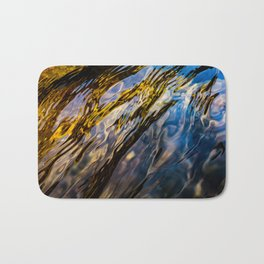 River Ripples in Copper Gold Blue and Brown Bath Mat