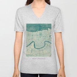 New Orleans Map Blue Vintage Unisex V-Neck