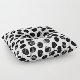 Jacson - minimal black and white modern abstract art print dots polka dots brushstrokes urban bklyn Floor Pillow