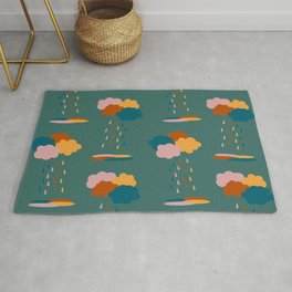 Colorful mixed rain clouds & drops pattern Rug