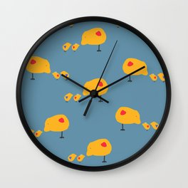 Sunny Family Mom and kids hand drawn home decor and kids textile design pattern on turquoise Wall Clock