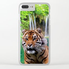 Tiger and Waterfall Clear iPhone Case