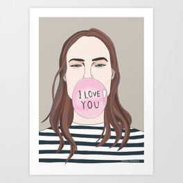 I love you chewing gum  Art Print