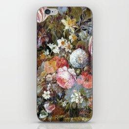 Worn vintage floral wood panel iPhone Skin