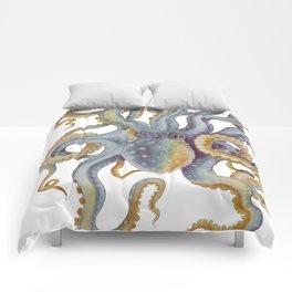 Octopus Tentacles Steel Blue Watercolor Art Comforters