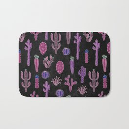 Cactus Pattern On Chalkboard Bath Mat