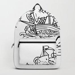 Kraken Attacking Sailing Ship Doodle Art Backpack