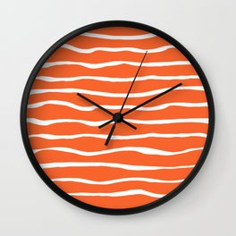 Sand Dune Paper Stripes Organic Pattern in White and Orange Wall Clock