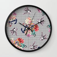 50s Wall Clocks featuring 50s by Mickaela Correia