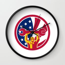 American Mechanic USA Jack Flag Icon Wall Clock