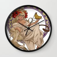 mucha Wall Clocks featuring Mucha Homage by Muy-Mal