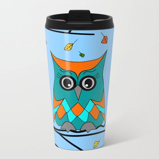 Autumn Owl Metal Travel Mug