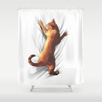 gladiator Shower Curtains featuring CAT by karakalemustadi