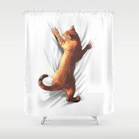 cigarettes Shower Curtains featuring CAT by karakalemustadi