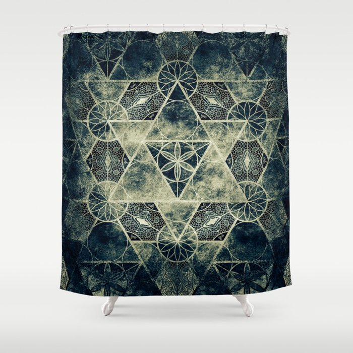 Sacred Geometry for your daily life -  Platonic Solids - IGNIS Shower Curtain