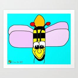 Happy Bumble Bee Art Print