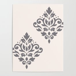 Scroll Damask Art I Grey on Cream Poster