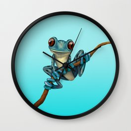 Cute Blue Tree Frog on a Branch Wall Clock
