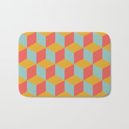 Cube pattern retro Orange #homedecor Bath Mat