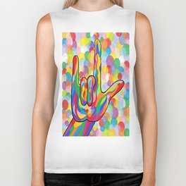 ASL I Love You on Bubble Background Biker Tank