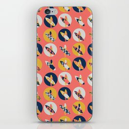 Surfer Girl Pattern Coral iPhone Skin