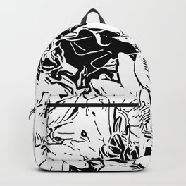 Inky Black and White Floral 1 Backpack