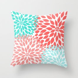 Coral Teal Dahlia Bouquet Throw Pillow