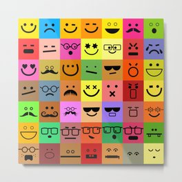 Square Emoji Faces Metal Print