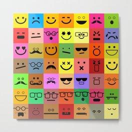 Square Emoji Faces Metal Print