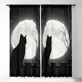 Silent Night Cat and full moon Blackout Curtain