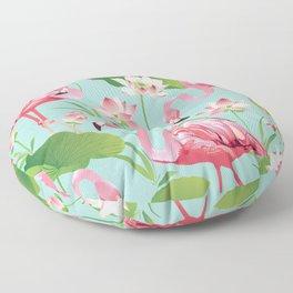 Flamingos Pattern on Aqua Floor Pillow
