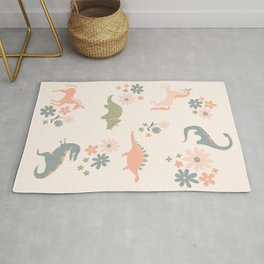 Floral Burst of Dinosaurs and Unicorns in Pink + Green Rug