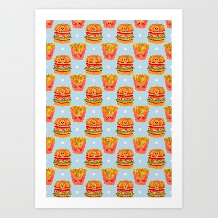 Hamburger and French Fries Pattern Art Print